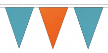 SKY BLUE AND ORANGE TRIANGULAR BUNTING - 10m / 20m / 50m LENGTHS